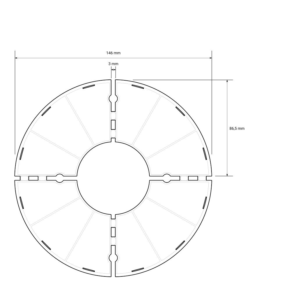 Skizze mit Bemaßung des Trevendo Plattenlagers mit fester Höhe