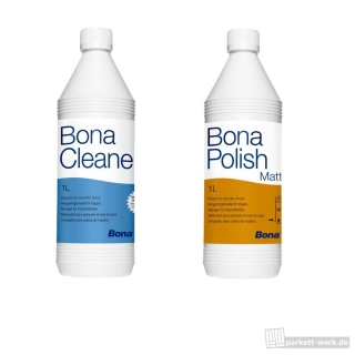 Bona Polish matt 1l + Bona Cleaner 1l Parkettpflege-Set