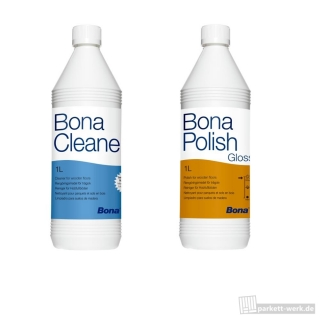 Bona Polish glänzend 1l + Bona Cleaner 1l Parkettpflege-Set